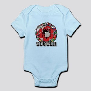 Albania Flag World Cup Soccer Ball Infant Bodysuit