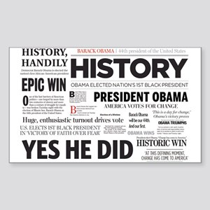Obama Historic Headline Colla Rectangle Sticker