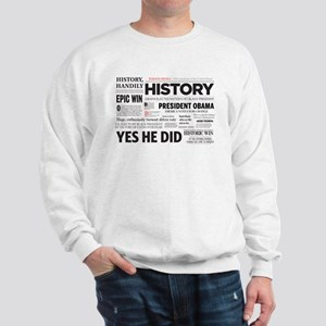 Obama Historic Headline Colla Sweatshirt