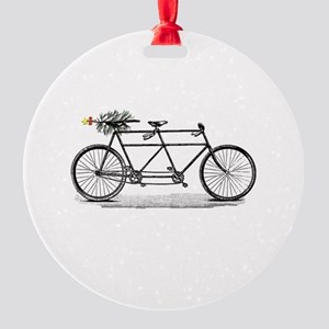 Tandem Bike Christmas Round Ornament