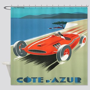 Vintage French Red Race Car Shower Curtain