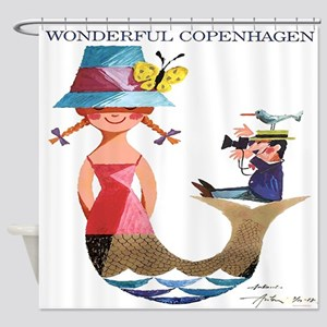 Vintage Copenhagen Mermaid Bird Shower Curtain