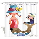 Vintage Copenhagen Mermaid Bird Shower Curtain