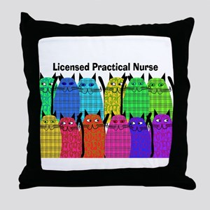 LPN cats Throw Pillow