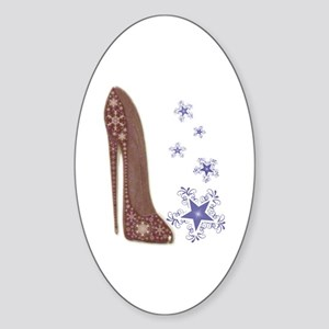 Snowflake Stiletto Shoe Art Sticker (Oval)