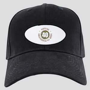 40th Vintage birthday Black Cap