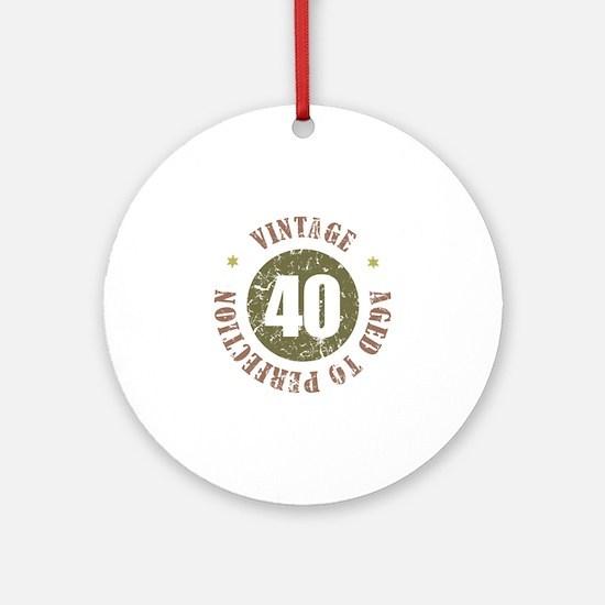 40th Vintage birthday Ornament (Round)