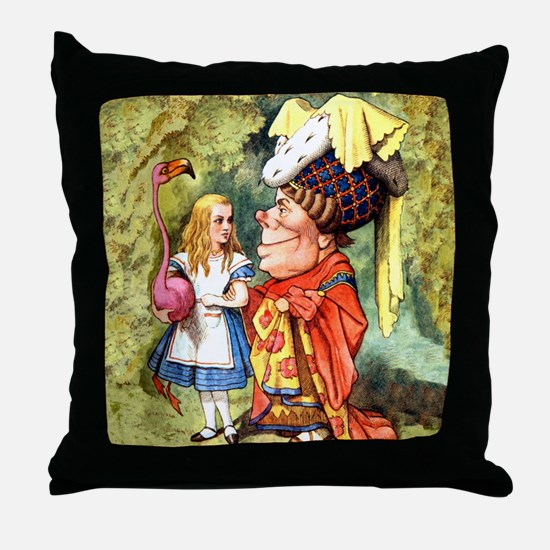 Alice and the Duchess Play Croquet Throw Pillow
