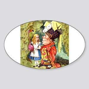 Alice and the Duchess Play Croquet Sticker (Oval)