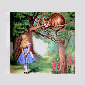 Alice and the Cheshire Cat Throw Blanket