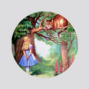 """Alice and the Cheshire Cat 3.5"""" Button"""