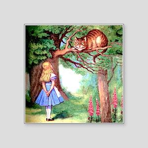 "Alice and the Cheshire Cat Square Sticker 3"" x 3"""