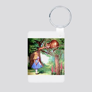 Alice and the Cheshire Cat Aluminum Photo Keychain