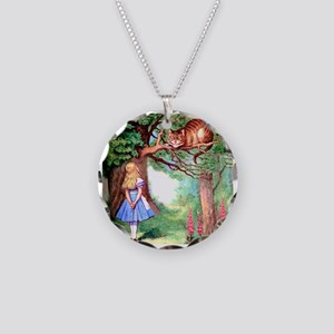 Alice and the Cheshire Cat Necklace Circle Charm