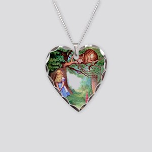 Alice and the Cheshire Cat Necklace Heart Charm