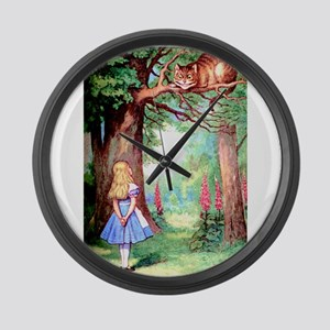 Alice and the Cheshire Cat Large Wall Clock
