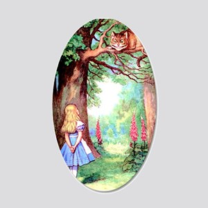 Alice and the Cheshire Cat 20x12 Oval Wall Decal