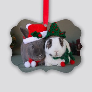 Bunny Holiday Ornament Picture Ornament