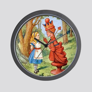 Alice Meets The Red Queen Wall Clock