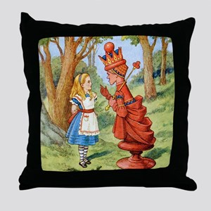 Alice Meets The Red Queen Throw Pillow