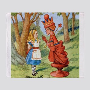 Alice Meets The Red Queen Throw Blanket