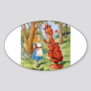 Alice Meets The Red Queen Sticker (Oval)