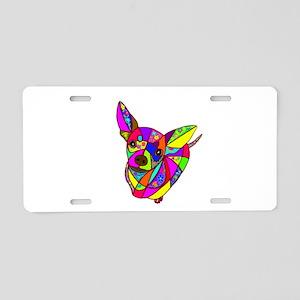 Colored Chihuahua Aluminum License Plate