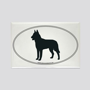 Belgian Malinois Silhouette Rectangle Magnet