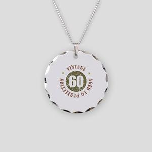 60th Vintage birthday Necklace Circle Charm