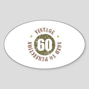 60th Vintage birthday Sticker (Oval)