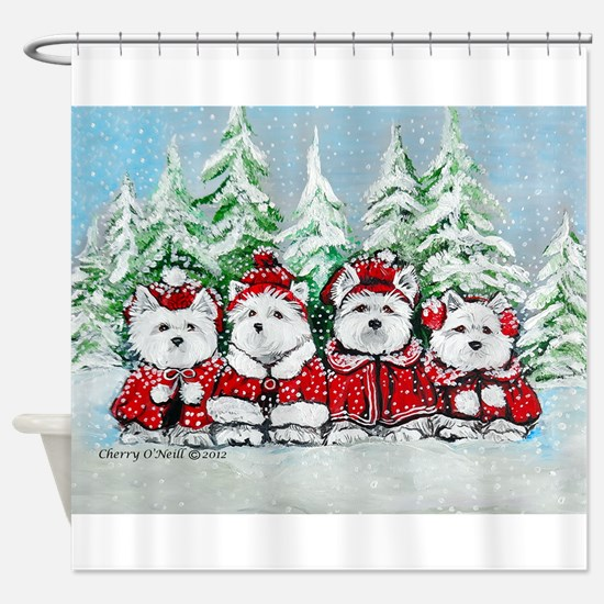 Westie Christmas Shower Curtain