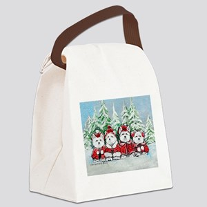 Westie Christmas Canvas Lunch Bag