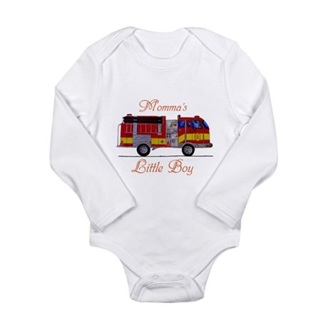Momma's Little Boy Long Sleeve Infant Bodysuit