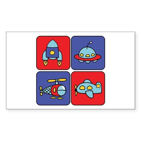 Flying Vehicle Squares Rectangle Sticker