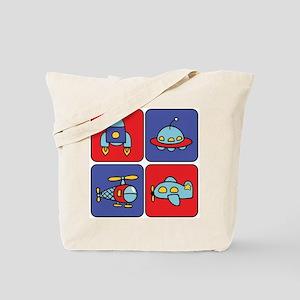 Flying Vehicle Squares Tote Bag