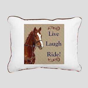 Live! Laugh! Ride! Horse Rectangular Canvas Pillow