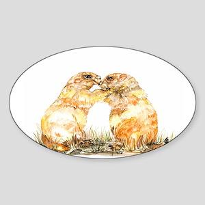prariedogs kiss Sticker (Oval)