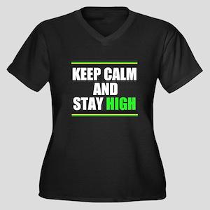 Stay High Women's Plus Size V-Neck Dark T-Shirt