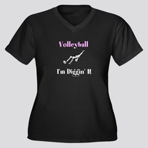 Volleyball I'm Diggin' It Women's Plus Size V-Neck