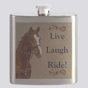 Live! Laugh! Ride! Horse Flask