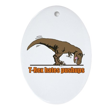 T Rex work out Ornament (Oval)