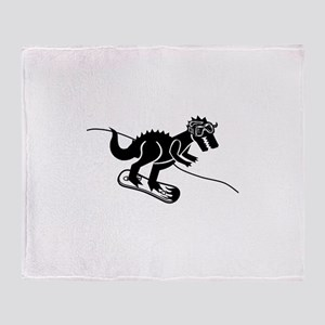 Snowboarding T Rex Throw Blanket