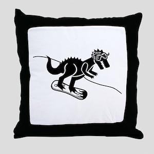 Snowboarding T Rex Throw Pillow