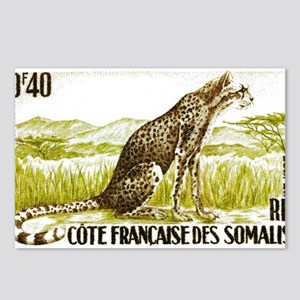 1958 Somalia Cheetah Cat Postage Stamp Postcards (
