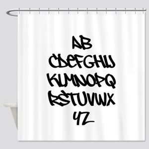 Graffiti Alphabet T Shirt Shower Curtain
