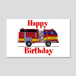 Fire Truck Happy Birthday 20x12 Wall Decal