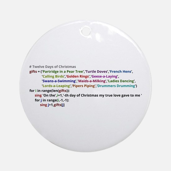 The Twelve Days of Christmas in Python Ornament (R