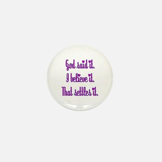 God Said It Purple Mini Button