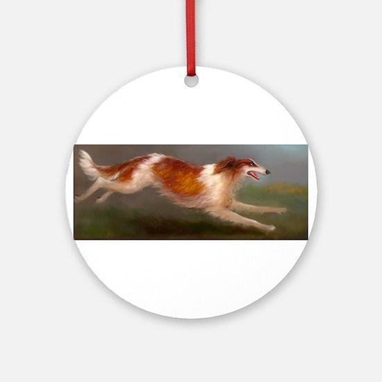 Running Borzoi/Russian Wolfhound Ornament (Round)