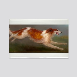 Running Borzoi/Russian Wolfhound Rectangle Magnet